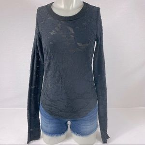 We The Free Black Lace Long Sleeve S Free People